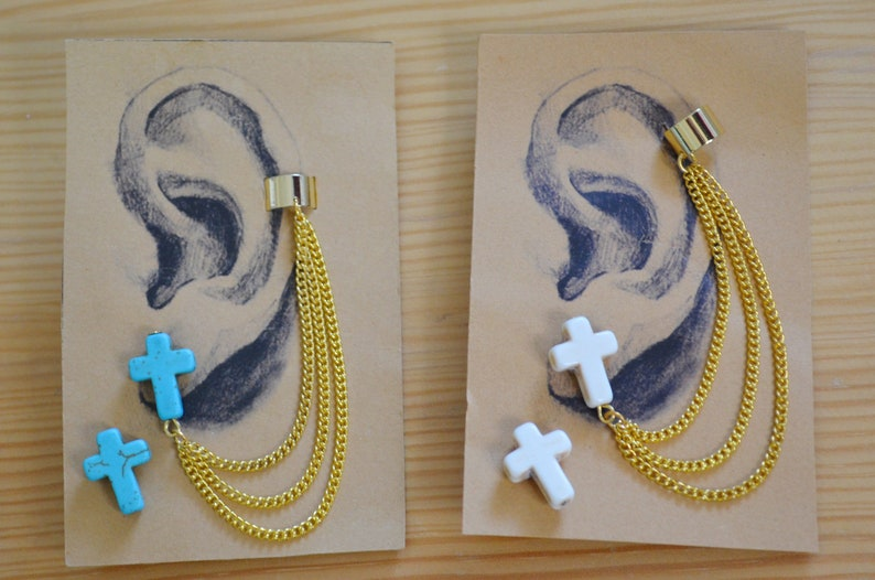 Howlite Earcuff Adjustable Boho Earcuff Earring Earcuff Earcuff Earring Earcuff Earring Boho Earcuff Turquoise Cross Earrcuff