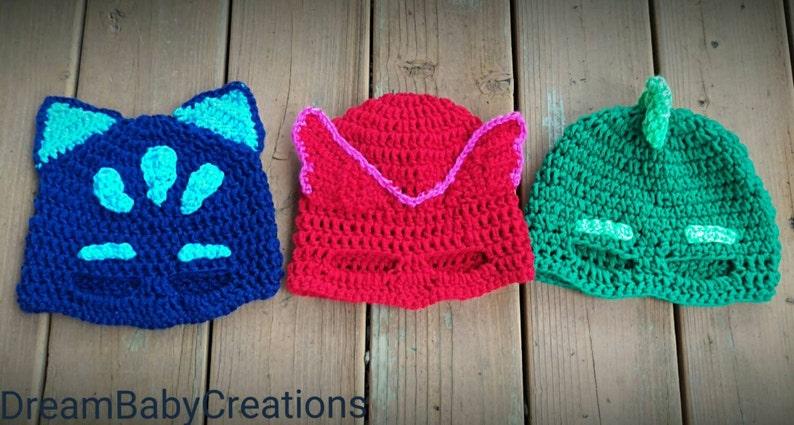 PJ Masks Crocheted Hat  Beanie Catboy Gekko Owlette  c96f5a60241