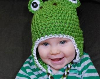 Crochet Frog hat with earflaps