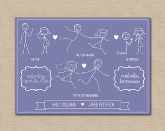 Customizable Stick Figure Save the Date: Digital File