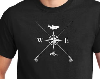 Fly Fishing Compass, Fly Fishing Shirt,For Dad, Fisherman, Compass Shirt, Fly fishing art, Fishing shirt, Fishing, Fly fishing Gift, Fly Rod