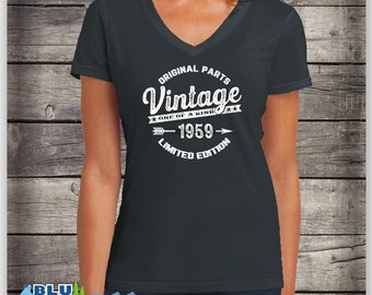 Vintage 1959 Womens Birthday Shirt 60 Years Old 60th Womans Born In 59 Limited Edition