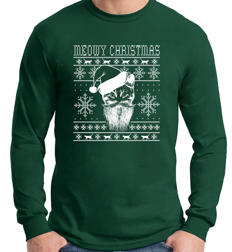 Ugly Christmas Sweater Design.Cat Christmas Ugly Sweater Design Cat Lover Long Sleeve T Shirt Cat Lady Christmas Gift Ugly Christmas Sweater Christmas T Shirt Fun