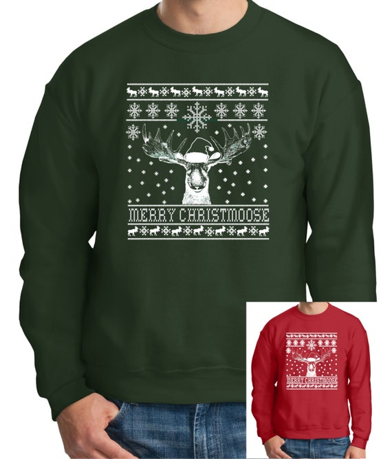 Ugly Christmas Sweater Design.Long Sleeve Christmas T Shirt Shirt Moose Ugly Sweater Design On A Long Sleeve T Shirt Sweatshirt Christmas Gift Christmas T Shirt Fun