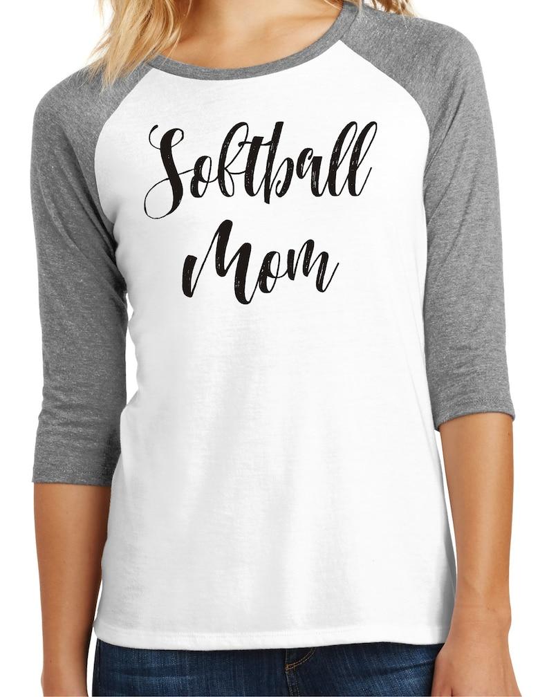 Womens softball mom shirt printed on a 34 sleeve triblend soft shirt softball shirt softball mom
