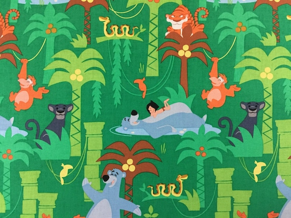 Disney Jungle Book Pillowcase with green trim Fits Standard and Queen size pillows
