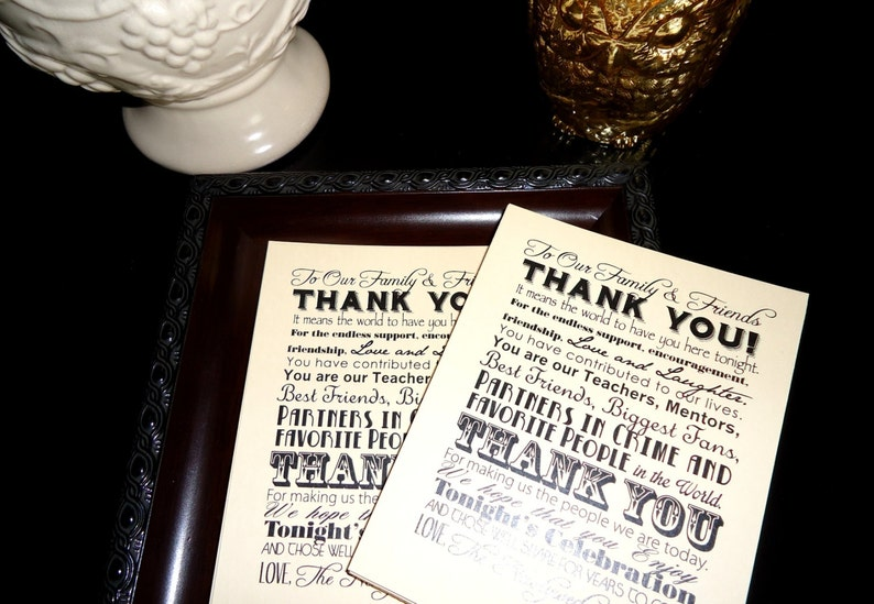 Wedding Thank You Reception Card Place Setting Set of 100