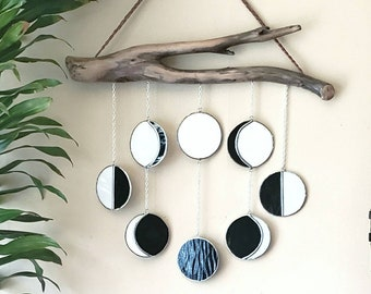 Dark moon phase / 8 stained glass moons on driftwood / celestial wallhanging // crafted by JOHN
