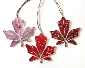 Stained Glass Maple Leaf / Canadian Maple Leaf / Red Suncatcher