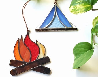 camping lover GIFT SET // Campfire and retro tent stained glass suncatchers / Outdoor Lover Ornaments / Crafted by JOHN