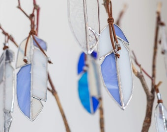 BLUE stained glass feather/ surprise shape / gift idea // crafted by ASTRID