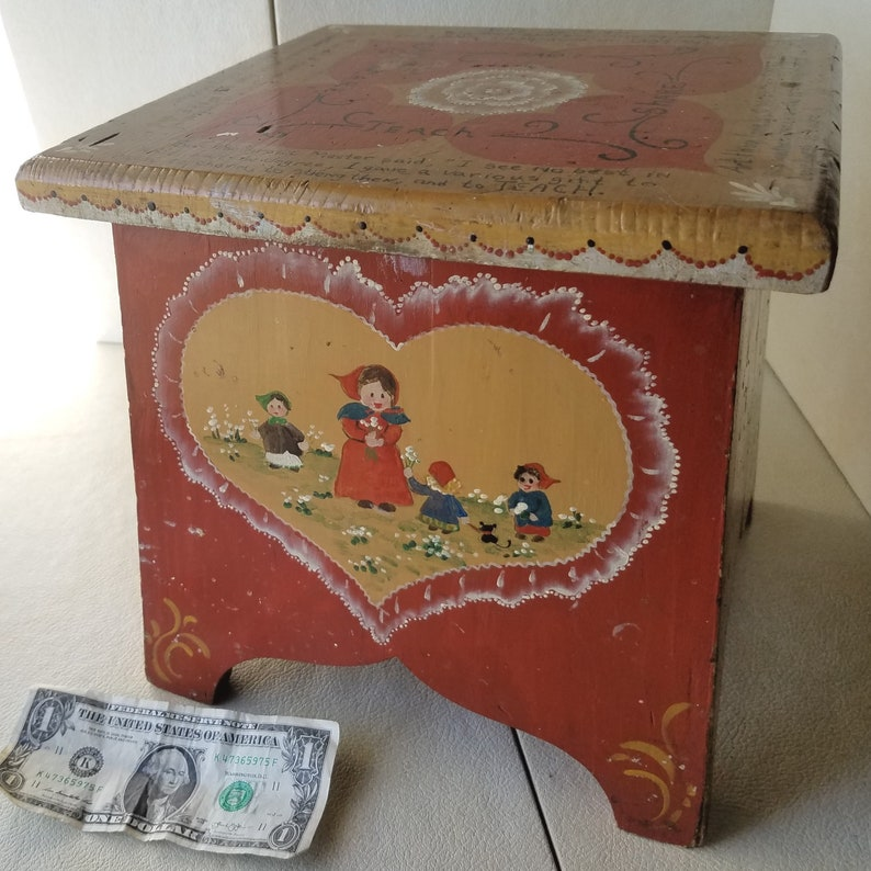 Rosemaling Stool Poetic Sentiments Share Theme is Love Retro Vintage Artist Signed Folk Art Teach and Care