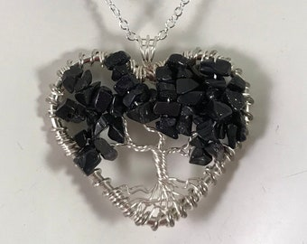 Blue Sandstone Heart Tree Of Life Necklace on 925 Sterling Silver Chain
