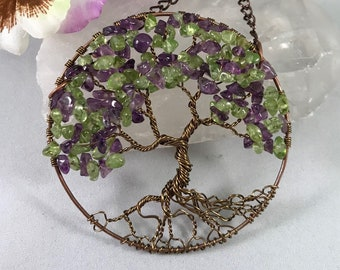 The Wisteria Tree of Life Sun Catcher with Deep Amethyst & Peridot Gemstone Chips
