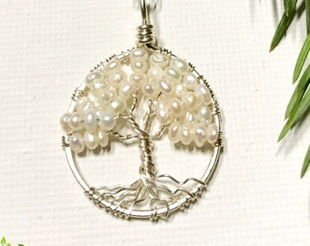 Minimalist Sterling Silver Tree Of Life Pearl Necklace On Sterling Chain Wire Wrapped Pendant Jewelry June Birthstone -Birthstone Series