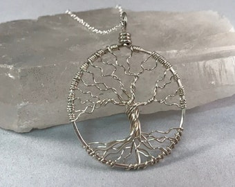 Unisex Sterling Silver Tree Of Life Necklace On Sterling Chain Wire Wrapped Tree Pendant