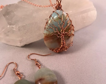 Amazonite Tree of Life Pendant and Earrings Set, Earring & Necklace Set, Blue Tan Amazonite Copper Wire Wrapped with Chain