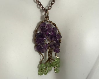 Tree of Life with Amethyst Branches Peridot Roots.  Tree for February Birthday or August Birthstone