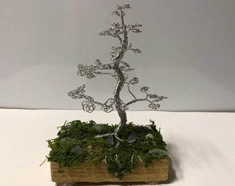 Tree Of Life Sculpture Wire Wrapped Trunk for Zen Yoga Room or Office Decor