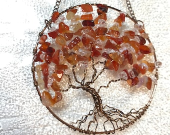 Sun Catcher with Orange Carnelian and Clear Quartz Gemstone Chips, Fall Decor