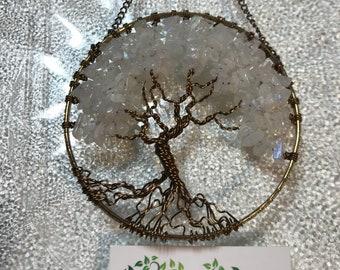 Sun Catcher with Moonstone Gemstone Chips, Winter Nature Decor