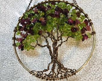 Thinking Spring - Crepe Myrtle Tree of Life Sun Catcher with Peridot, Garnet & Pink Tourmaline Gemstone Chips