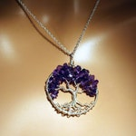 Sterling Silver Amethyst Tree Of Life Necklace On Sterling Chain, February Birthstone