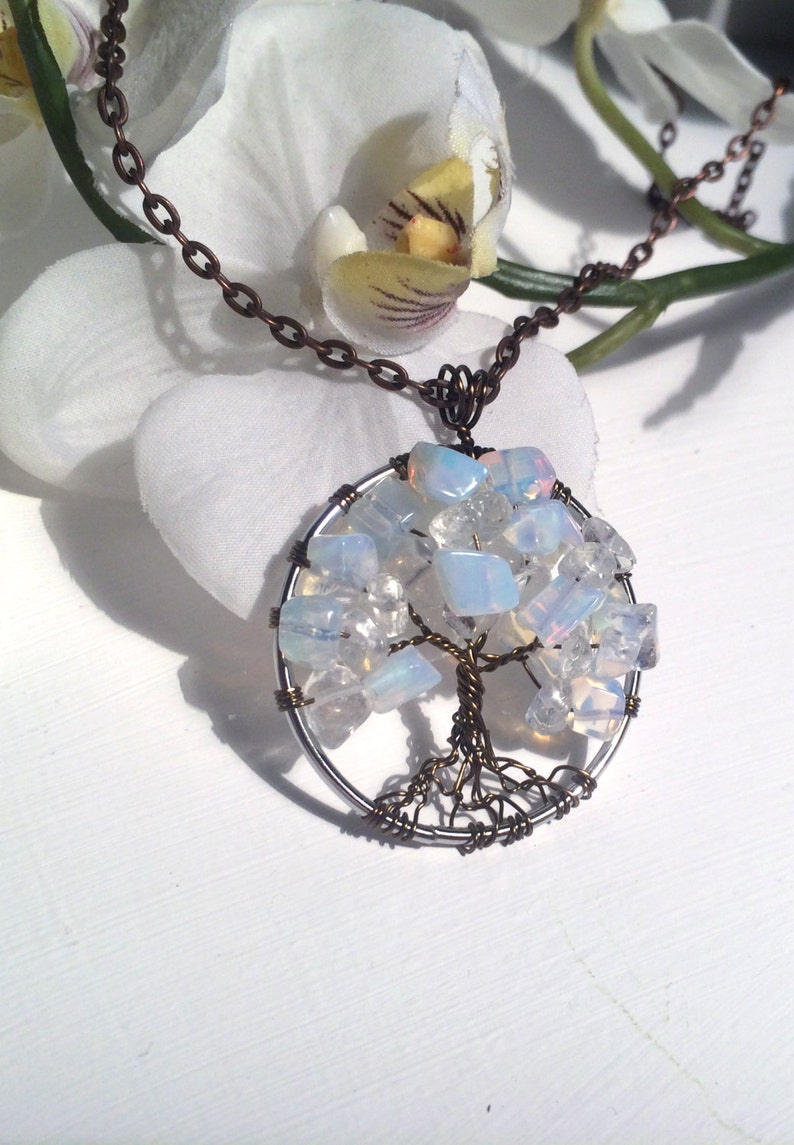 Tree Of Life Necklace Opalite Pendant On Silver Chain Wire image 0