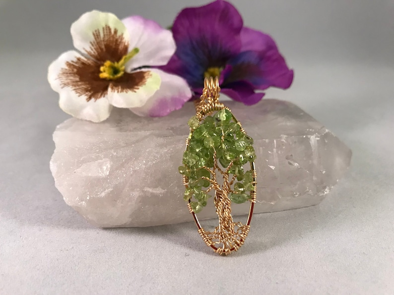 Tree Of Life Necklace Peridot Pendant Tree On Oval Gold Frame image 0