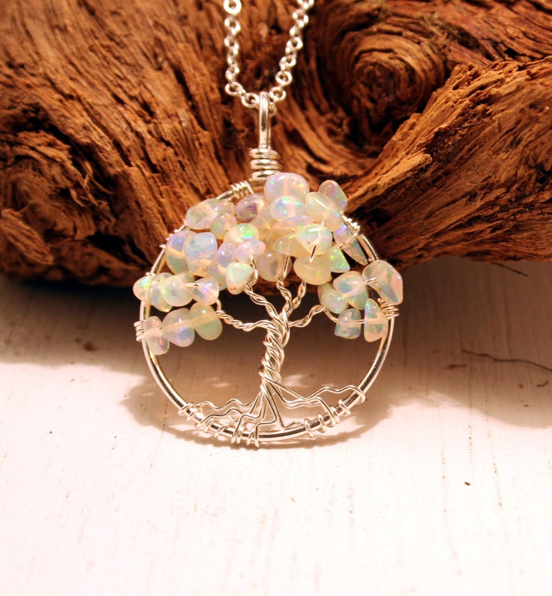 Sweet October Winds Petite Sterling Silver Tree Of Life Opal image 0