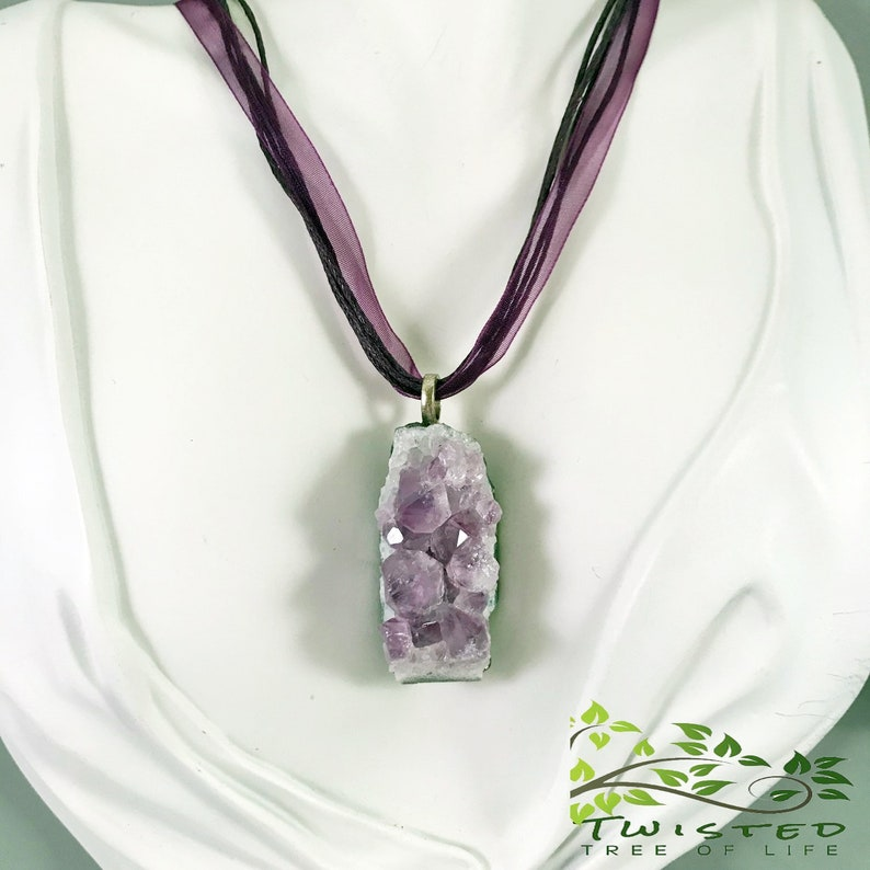 Raw Amethyst Druzy Necklace.  Amethyst February Birthstone image 0