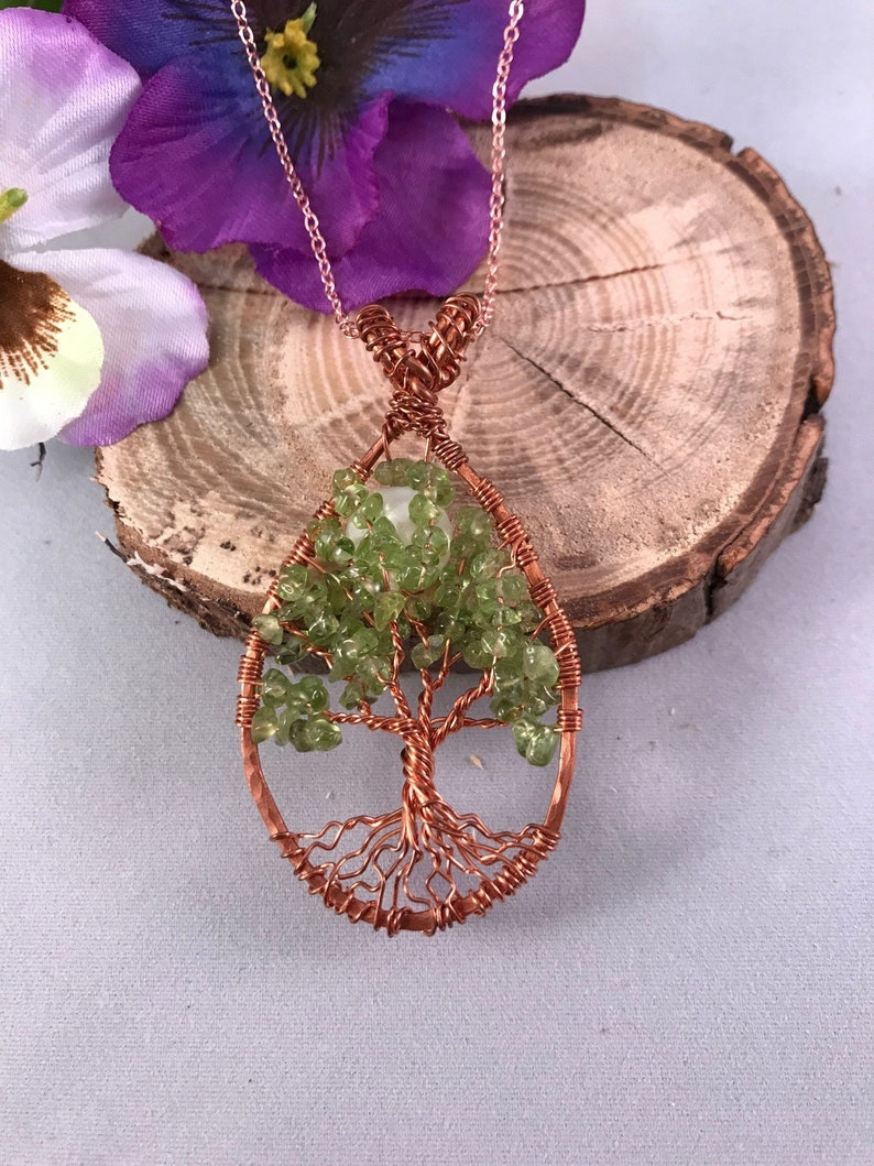 Teardrop Peridot Tree of Life  Handmade Jewelry Pendant image 0