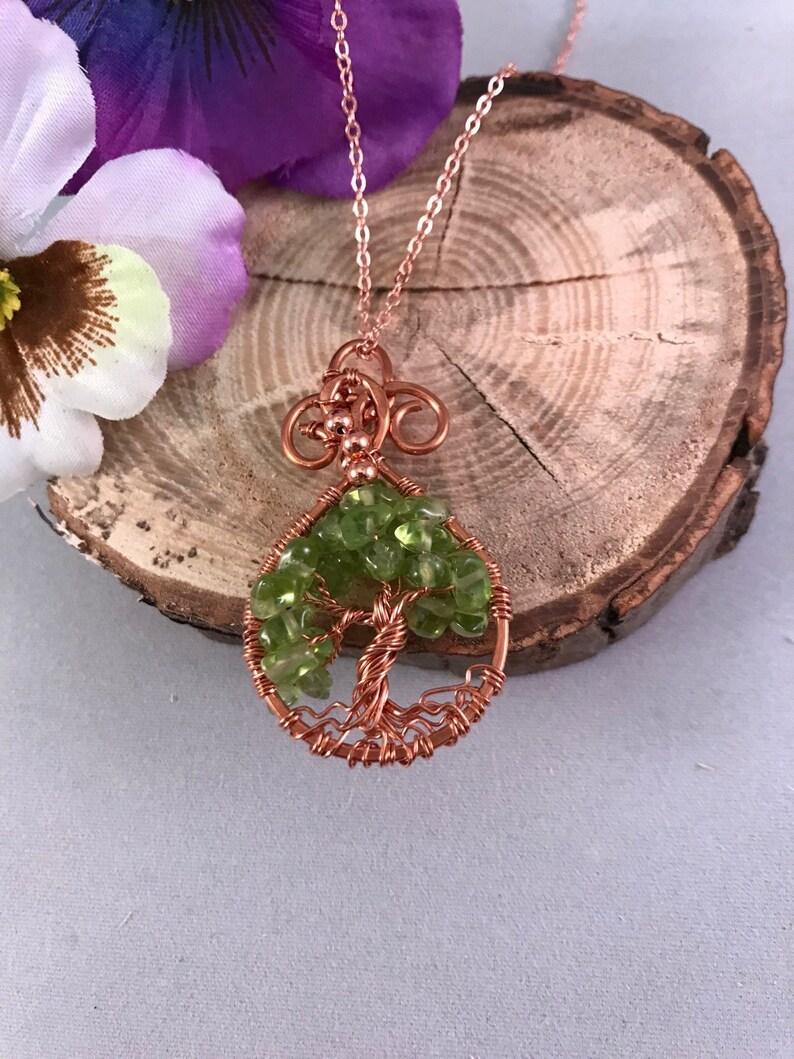 Teardrop Peridot Tree of Life  Twisted Copper Jewelry Pendant image 0