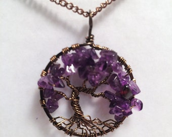 Windswept Tree, Tree Of Life Necklace, Amethyst Pendant, Amethyst Necklace, Wire Wrapped Tree, February Birthstone, February Birthday