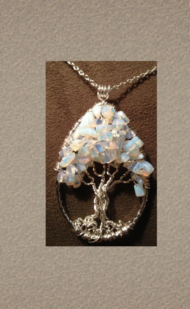Opalite Tree of Life Moonstone Teardrop Tree of Life Pendant image 0