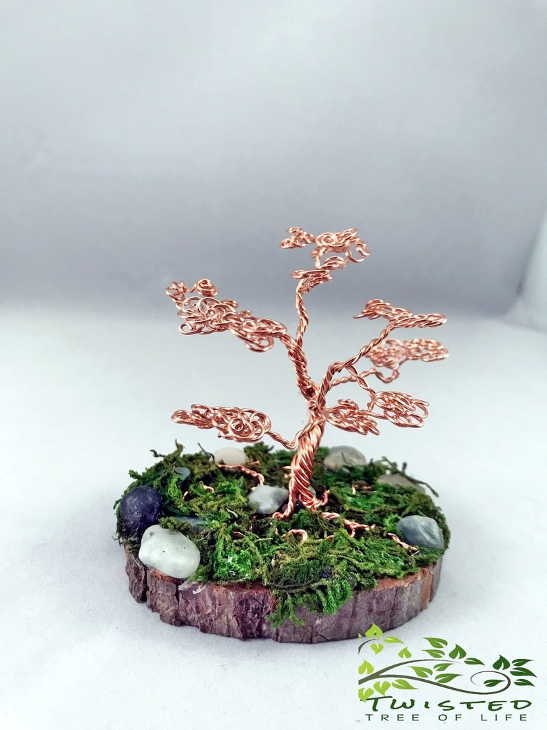 Tree Of Life Sculpture Copper Wire Wrapped Trunk for Zen Yoga image 0
