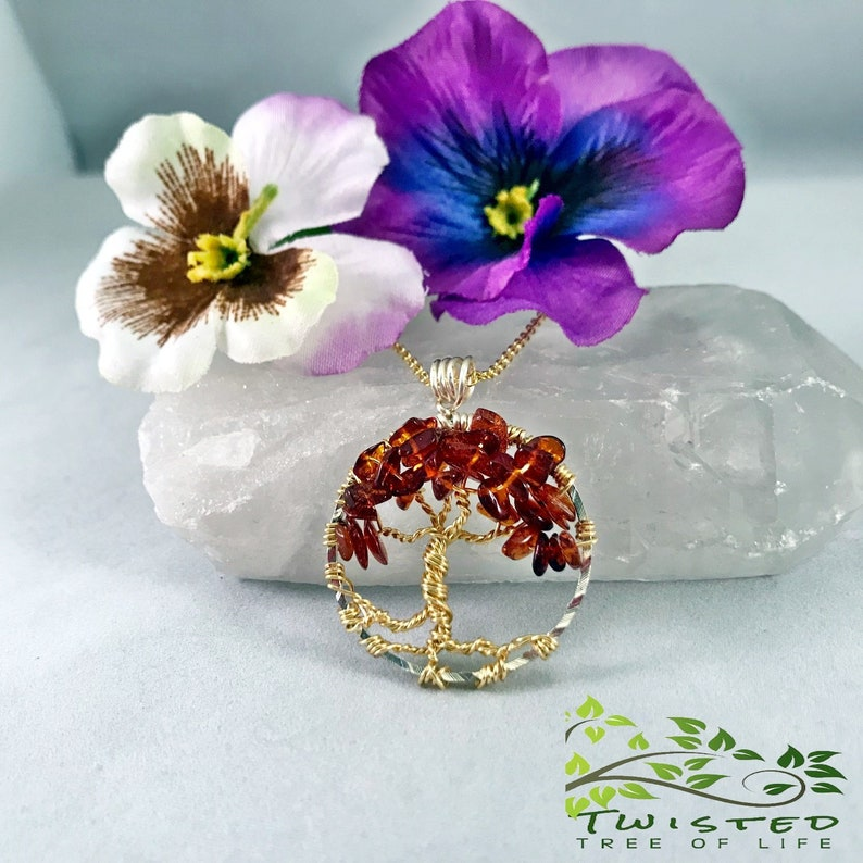 Tree of Life Pendant with Dark Baltic Amber Gemstone Chips on image 0