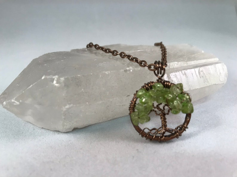 Tree Of Life Necklace Peridot Pendant Copper Chain and Wire image 0