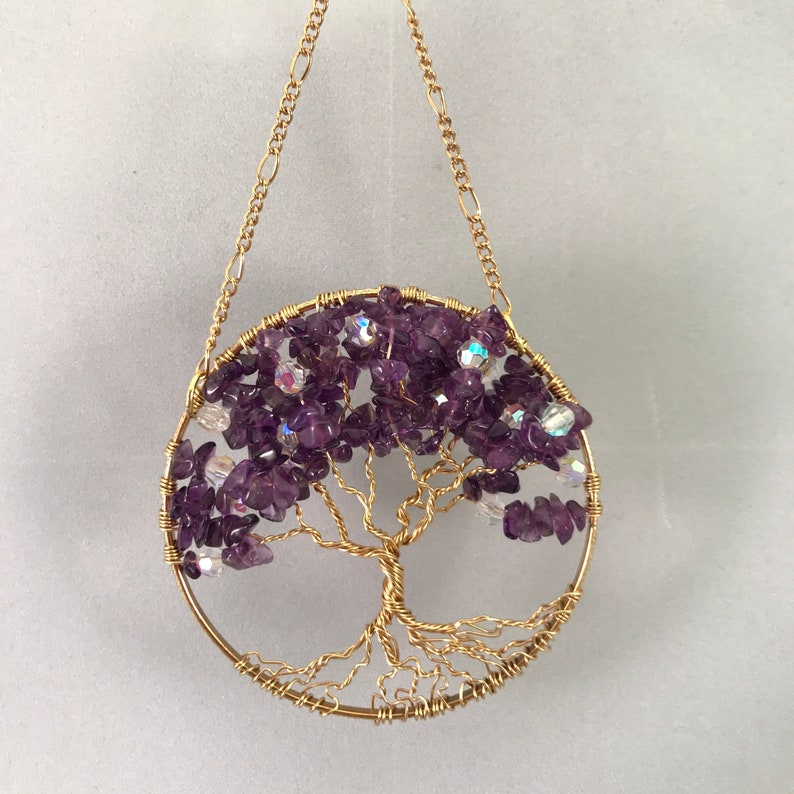 Tree Sun Catcher with Amethyst & Crystals on a Gold Ring image 0