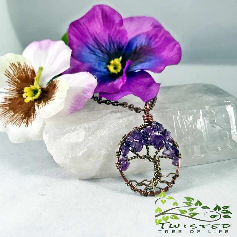Amethyst Tree Of Life Necklace Minimalist Necklace Pendant image 0