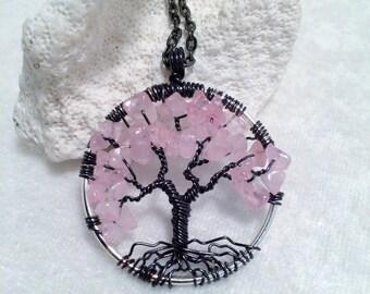 Tree Of Life Necklace Rose Quartz Pendant On Black Chain Wire Wrapped Wedding Jewelry January Birthstone Jewelry