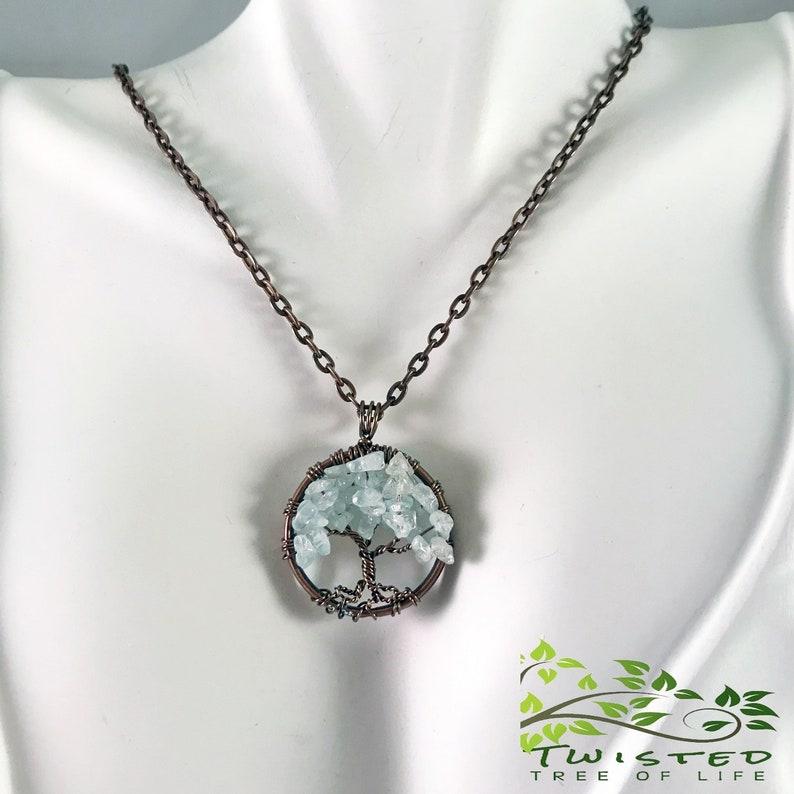 Aquamarine Tree of Life Pendant. Minimalist Jewelry Pendant On image 0