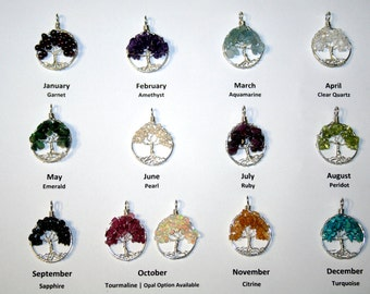 Sterling silver tree of life birthstone necklace on a sterling chain