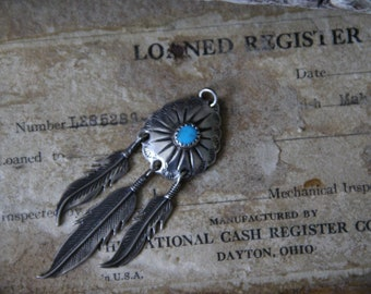 Vintage | Navajo | Native American | Turquoise | Sterling Silver | Concho | Feather | Dangle | Pendant 6 grams