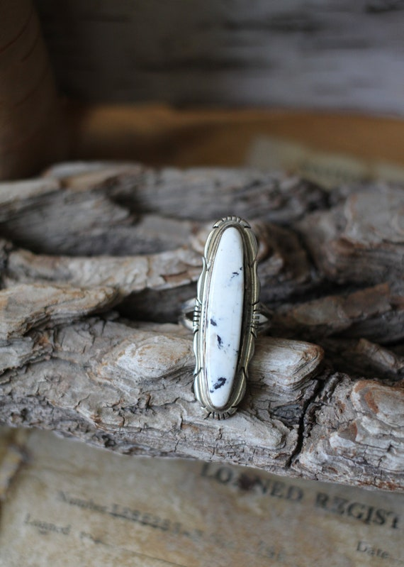 ON SALE White Buffalo turquoise ring handmade in sterling silver 925 with a beautiful stone