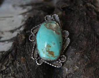 Vintage | Navajo | Ornate |Sterling Silver 925 | Roughly Carved | Dry Creek | Turquoise | Statement | Pendant  11.6 grams