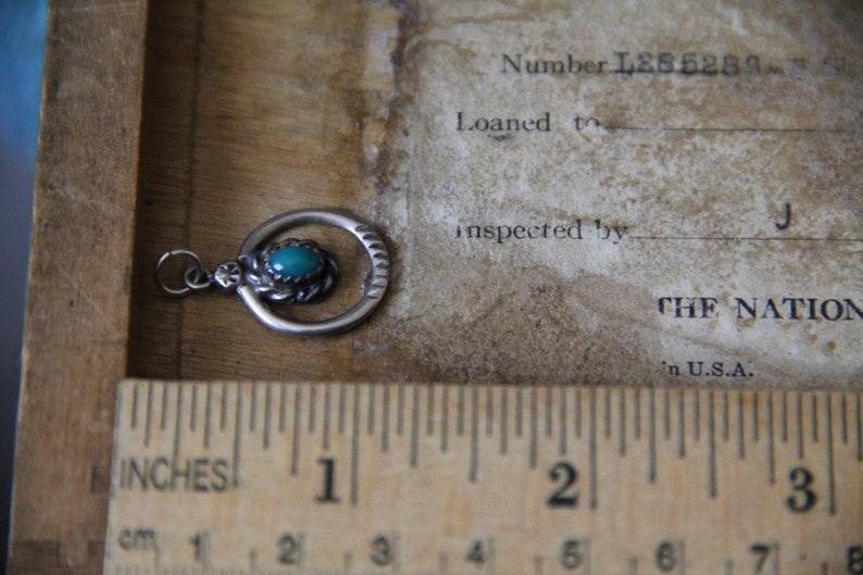 Dainty Ornate Oval Dangle Vintage Naja Charm Navajo Sterling Silver Turquoise Native American Pendant Petite