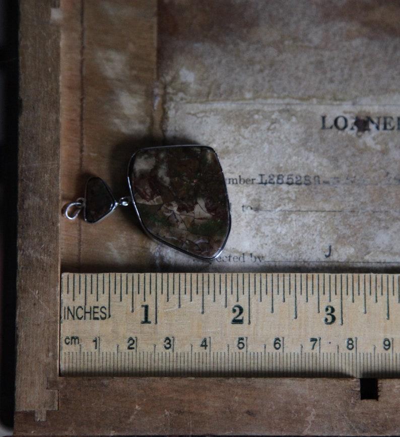 Fossilized Shell Green Pendant Silver Natural Ammolite Organic Statement Vintage Brown Orange Sterling Iridescent