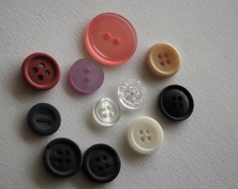 Set of 11 multicolored round buttons 1 cm - 2 cm