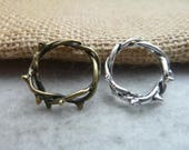 Antique Bronze Silver Vines Ring Crown Ring bamboo Ring